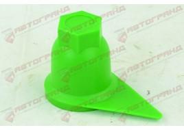Колпачок колесный (D32 мм) зеленый со стрелкой