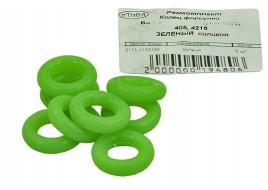 Кольцо форсунки ГАЗ 3302, 2110-15, 2170 (4216, 405. 406 дв) (зеленый) силикон (к-т 8 шт) ПТП