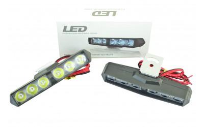 Фара светодиодная (6 led дополнительная с крепежем, прямоугольная) (к-кт. 2 шт)