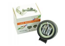 Фара светодиодная (2 led, дополнительная с крепежом, круглая, с подсветкой)