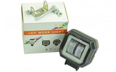 Фара светодиодная (2 led дополнительная с крепежом, квадратная с подсветкой)