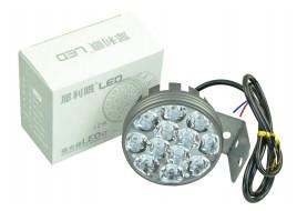Фара светодиодная (12 led, дополнительная с крепежом, круглая)