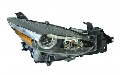 Фара Mazda 3 3 BM (2016-2019) рестайлинг галоген линзованная электрокорректор желтый поворот правая