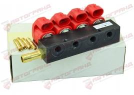Форсунка 3 Ом планка 4 цилиндра (красные) (штуцера в коллектор, без калибровочных штуцеров) VALTEK