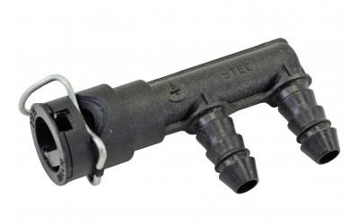 Разъем топливной трубки 21082-21099, 2110-2170 двойной боковой (металлический фиксатор) инжектор