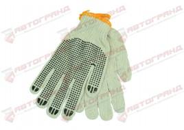 Перчатки трикотажные Х/Б ПВХ волна 7-класс бело-черные