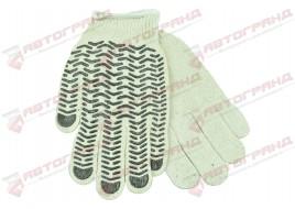 Перчатки трикотажные Х/Б ПВХ волна 10-класс бело-черные