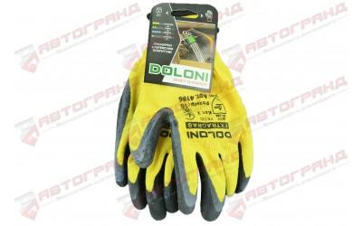 Перчатки с латексным покрытием 10-класс желтые